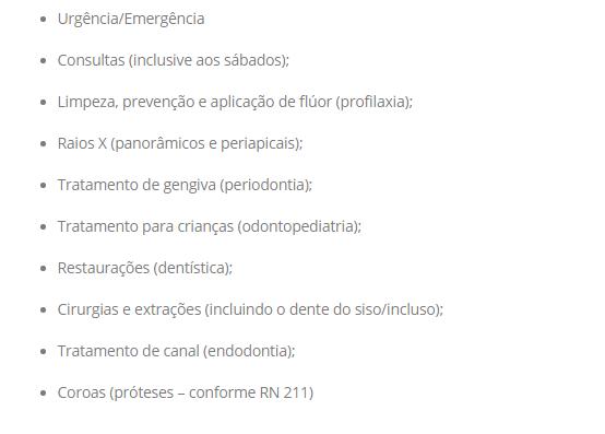 Linha Dental Tabela de coberturas